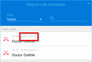 SIP account is displayed on Call log window