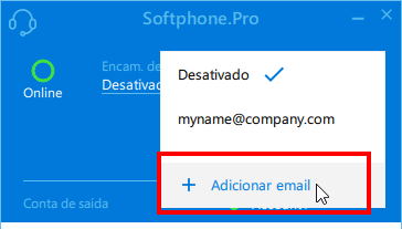 Click Add email to notify about missed calls by email