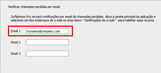 Enter email address to receive email notifications on missed calls